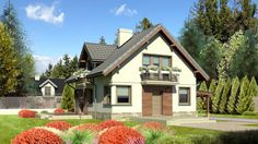 DOM.PL™ - Projekt domu Dom przy Cyprysowej 34 long CE - DOM EB4-49 - gotowy projekt domu Home Fashion, Bungalow, Beautiful Homes, Shed, Floor Plans, Outdoor Structures, Cabin, Flooring, Mansions