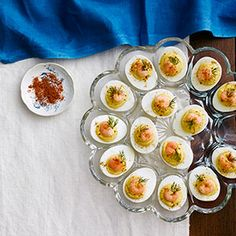 APPETIZER: Deviled Eggs with Old Bay Shrimp (#kirstensnotes Easter 2014  I thought they were great. Could easily skip the shrimp step and would still be super, IMHO.)