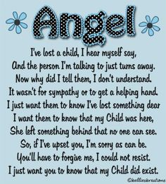 Angel Mom Quote. Miscarriage. Infant loss. Bereavement. Bereaved mothers.