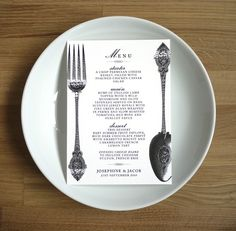 SPOON and FORK MENU // wedding or dinner party by twoforjoypaper, $1.75