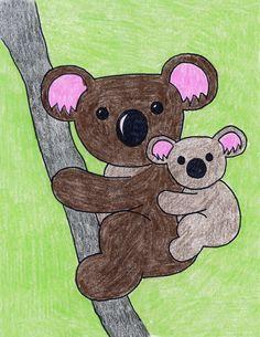Koala | Art Projects for Kids. PDF tutorial available. #artprojectsforkids #koala