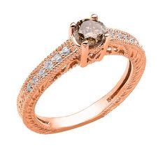 Fancy Brown Champagne Diamond Engagement Ring 14K Rose Gold 1.04 Carat Vintage Antique Style Engraved handmade