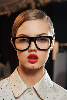 Matte red lip with glasses