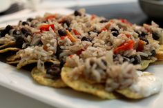 Gallo Pinto Nachoes (from post: Costa Rica's Eye on the 2012 US Presidential Election Results and an Obama-Inspired Recipe for Gallo Pinto Guaco-Nachos to Celebrate the Democratic Win!)