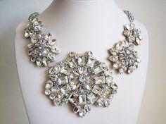Bridal Statement Necklace  Rhinestone Bridal by fabfascinator, $339.95