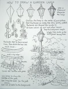 How to Draw Worksheets for The Young Artist: How To Draw A Garden Lamp Post