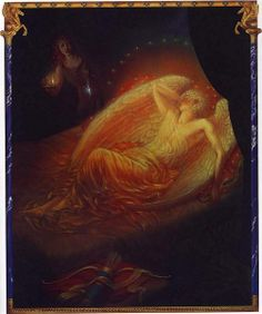 """Cupid asleep, by Kinuko Y. Craft -- Illustration from """"Cupid and Psyche"""""""