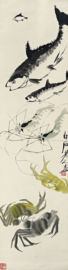 齊白石 QI BAISHI (1864-1957) △ FISH, SHRIMPS AND CRABS