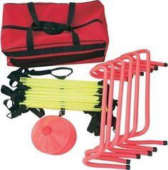 "Cintz Agility Training Kit, Speed ladder, Hurdles, Cones, Free Bag by Cintz LLC. $84.99. Set of 6 Speed Hurdle 6"".  Set of 12 Field Cone Marker - 2"".  Agility Ladder 15 Feet.   Free! cool carry bag."