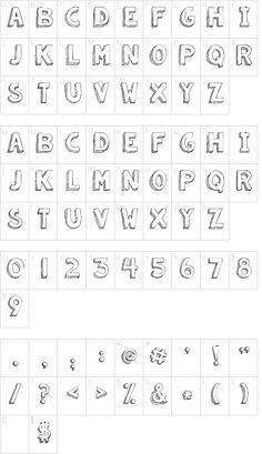 KG Summer Sunshine font character map