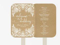 Wedding Fan Program | Editable MS Word Template DIY | Kraft white text | white lace