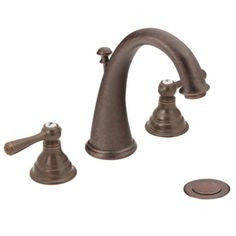 Master Bath Faucets = Moen Kingsley Oil rubbed bronze two-handle high arc bathroom faucet - T6125ORB