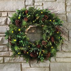 The Mixed Bough Prelit Juniper Holiday Trim (Wreath) - Hammacher Schlemmer