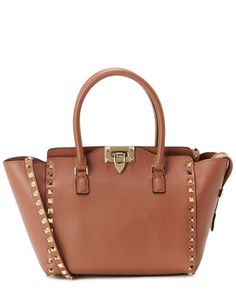 Valentino Rockstud Small Double Handle Leather Tote Brown//