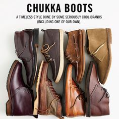 Se great chukka boots by J. Crew, Alden, Red Wing, Sperry, and Quoddy.
