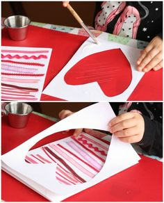 DIY Valentine's gifts kids can make: ribbon strip heart cards from Happy Hooligans day gift boyfriend day gift girl day gift him day gift ideas day gift kids day gift teacher Valentine Gift For Dad, Diy Valentines Cards, Christmas Gift For Dad, Homemade Valentines, Kids Valentines, Valentine Crafts, Valentine Ideas, Valentine Decorations, Happy Hooligans