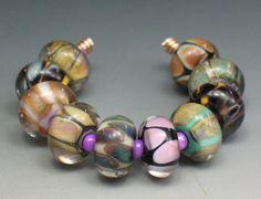SJC Lampwork 10 handmade silver glass donut beads ~SRA~ USA~ #SJCLampwork #Lampwork