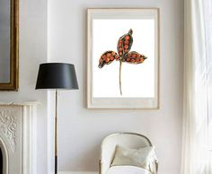 Fall Floral Autumn watercolor painting print of by lunapeonyart