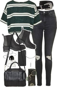 Outfit with black boots and ripped jeans by ferned featuring an alexander wang bagTopshop crop tee, 70 AUD / Topshop high rise skinny jeans, 77 AUD / Ankle booties, 245 AUD / Alexander wang bag, 1 030 AUD / Chains jewelry, 95 AUD / Apt 9 green jewelry, 12 AUD / Ray-Ban round lens sunglasses, 240 AUD / GiGi New York tech accessory, 39 AUD / ASOS cowboy belt / Byredo eau de perfume, 165 AUD
