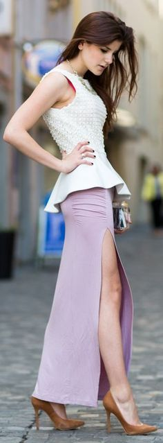 purple slitted maxi skirt