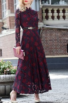 Differentes Wine Red Single Breasted Lace Maxi Dress | Maxi Dresses at DEZZAL Click on picture to purchase!