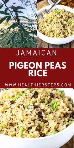 Jamaican Pigeon Peas And Rice is very tasty and popular Jamaican one pot side, made with pigeon peas also known as Gungo peas in Jamaica and cooked in seasoned coconut milk. Vegan Cabbage Recipes, Best Vegan Recipes, Best Dinner Recipes, Indian Food Recipes, Holiday Recipes, Ethnic Recipes, Rice And Pigeon Peas, Rice And Peas, Jamaican Rice