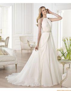 2015 Besondere Schlichte Moderne Brautkleider aus Organza mit Perlenstickerei