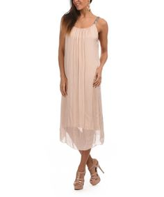 Take a look at this Light Pink Embellished Silk-Blend Midi Dress on zulily today!