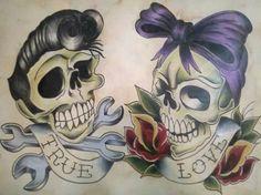 His & Hers rockabilly ink Paar Tattoos, Kunst Tattoos, Skull Tattoos, Skeleton Tattoos, Rockabilly Couple, Rockabilly Art, Couple Tattoo Quotes, Couple Tattoos, Sweet Tattoos