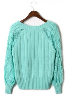 Lace Sleeves Cable Knit Sweater in Mint