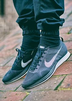 e66d6a4aed Nike Flyknit Racer - Dark Grey/White/Black Nike Flyknit Racer, Nike Shoes