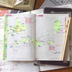 """""""過去の記録を探していて、 ほぼ日手帳2014springに貼っていた白地図に目をとめる。少し書き足し。全都道府県制覇は遠い。 #ほぼ日手帳 #365デイズノート #365daysnotebook #能率手帳 #能率手帳ゴールド"""""""