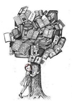 a book tree illustration Tattoo Buch, Book Tattoo, Tattoo Quotes, I Love Books, Books To Read, My Books, Book Tree, World Of Books, I Love Reading