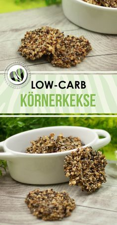 Schnelle Körnerkekse - Leckere Low Carb Rezepte - schwarzgrueneszebra - The grain biscuits are sugar-free and therefore low-carb. They are also gluten free. Healthy Protein Snacks, Protein Desserts, Low Carb Desserts, Keto Snacks, Quick Snacks, Paleo Postre, Dieta Paleo, Raw Food Recipes, Low Carb Recipes