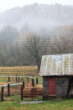 Early morning fog:  barn, ranch, farm, foggy, rainy, morning, nature, landscape photography, fine art photography, 11x14 print on Etsy, $45.00