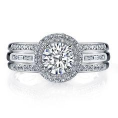 Vanna K Style No: 18RGL812DCZ    Diamonds: Round 0.53 Carats -Baguette-0 .10 Carat (not including 1 Carat center stone)
