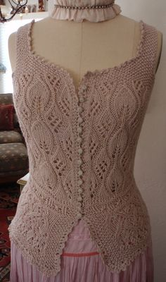 Hand Knit Lace Corset Cover Bodice Antique Victorian Edwardian Style Bohemian…