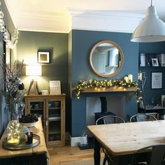 Home interior Design Ideas Awesome - - - Lounge Decor, Lounge Ideas, New Living Room, Home And Living, Quirky Living Room Ideas, Living Room Decor Blue, Blue Dinning Room, Log Burner Living Room, Cosy Dining Room