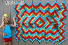 Free Pattern Crochet Drop in the Pond Blanket by Bethintx1 - Crocheted by Donna Wolfe from Naztazia