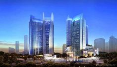 Ciputra World 3 (left, proposed) and Ciputra World 1 (right, completed) located at Satrio CBD, south Jakarta.