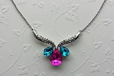 """Colorful Gemstone Austrian Crystal Silver Plated Necklace 17"""" - 19"""" adjustable - $12.95"""