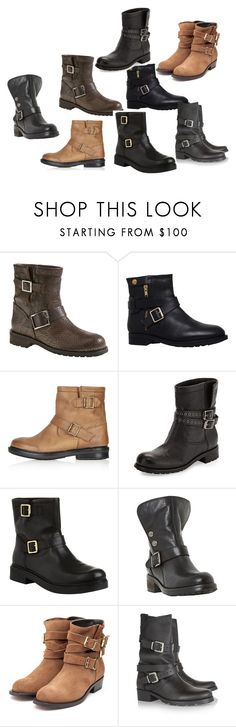 biker boots by ve-safarova on Polyvore featuring Jimmy Choo, Rupert Sanderson, Maje, Dune Black, Carvela Kurt Geiger, Carvela and Topshop