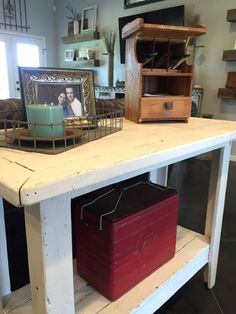barnwood table, painted furniture, vintage cooler,  telephone table caddy, rustic decor