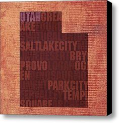 Utah Word Art State Map On Canvas Canvas Print