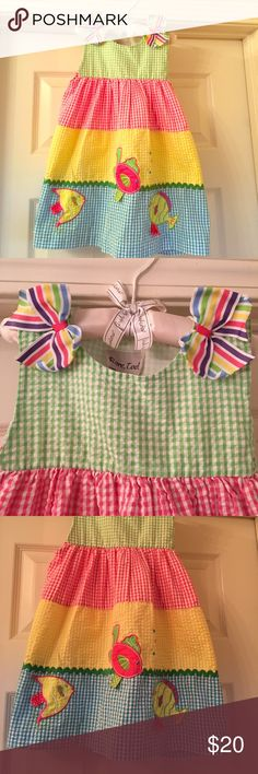 Rare, Too Picture Perfect Dress So sweet for your sweetie! 55% Cotton 45% Polyester. In like new condition. Fits Size 3 T. Excellent for your Back To School Wardrobe. Adorable and great colors. Buttons at the shoulders. Rare, Too Dresses Casual