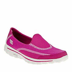 Skechers Women's GOwalk 2 Spark Slip-On Shoes- Four-way stretch mesh forefoot and side panels offer stability, support and flexibility. Barefoot last (shape) combines a wider ball-of-foot area and a lower heel drop that lets the foot rest in a more natural position.(FootSmart.com)
