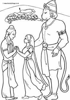 Hanuman colouring page; Hanuman helps Rama to rescue Sita and the couple are reunited