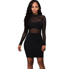 9dfc6e99c92 Women s Summer Long-Sleeved Mesh Bodycon Bandage Dress. Party Dresses For  WomenFall ...