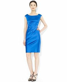 Lauren Ralph Lauren Cap-Sleeve Satin Sheath Dress at Macys