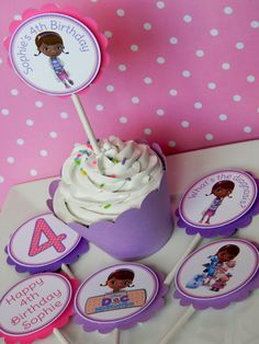 For Danielle Doc McStuffins Birthday Party Cupcake Toppers. Doc Mcstuffins Birthday Party, 4th Birthday Parties, It's Your Birthday, Girl Birthday, Birthday Ideas, Girl Parties, Cupcake Party, Cupcake Cakes, Cup Cakes